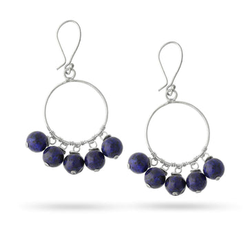 Guided By Wisdom Lapis Silver Hoops