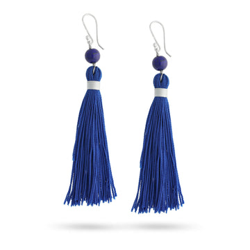 walk in wisdom lapis healing gemstones tassel earings