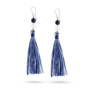 moonstone and lapis healing gemstones tassel earrings