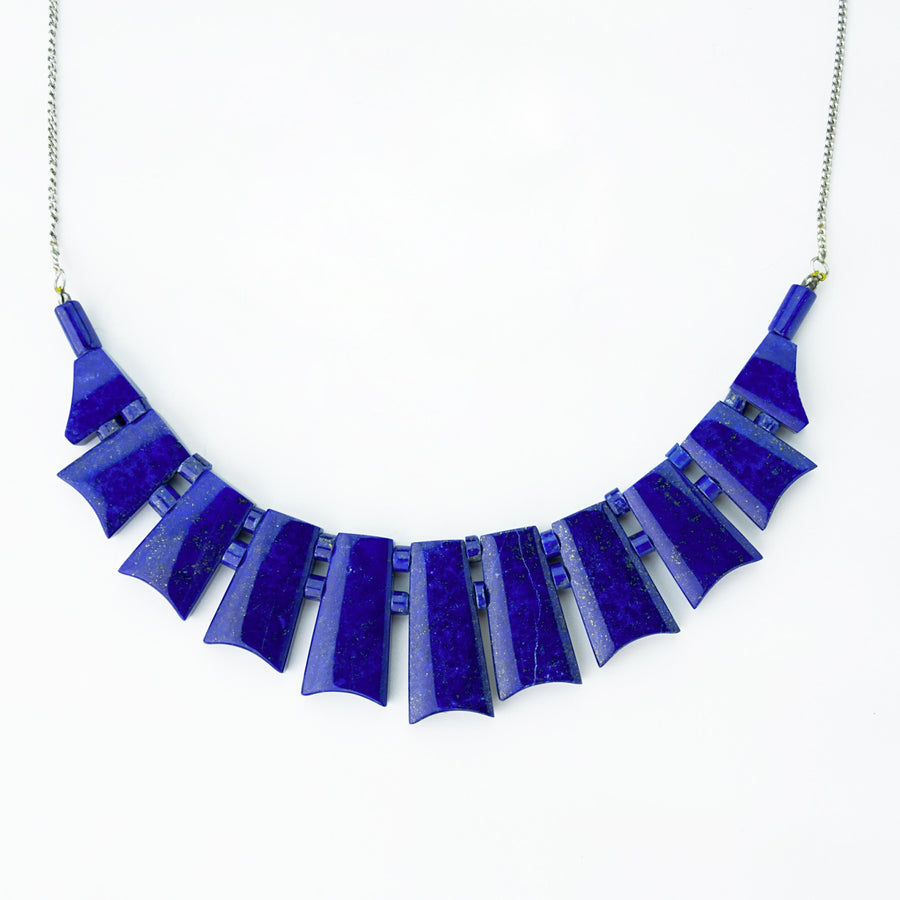 midnight sky lapis healing gemstones necklace  top view
