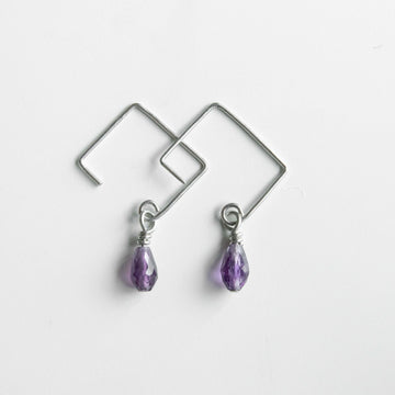 Petite Amethyst Drop Earrings