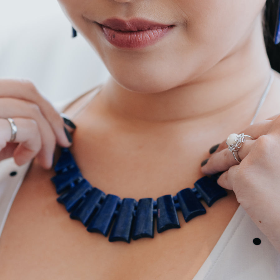 midnight sky lapis healing gemstones necklace on neck