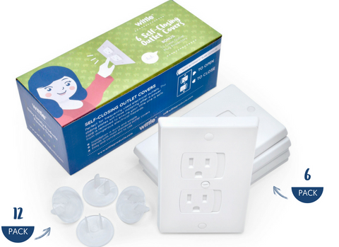 Wittle's New Electrical Safety Kit Includes Self Closing Outlet Covers for High Use Outlets Plus Insertable Plug Protectors for Low Use Outlets!