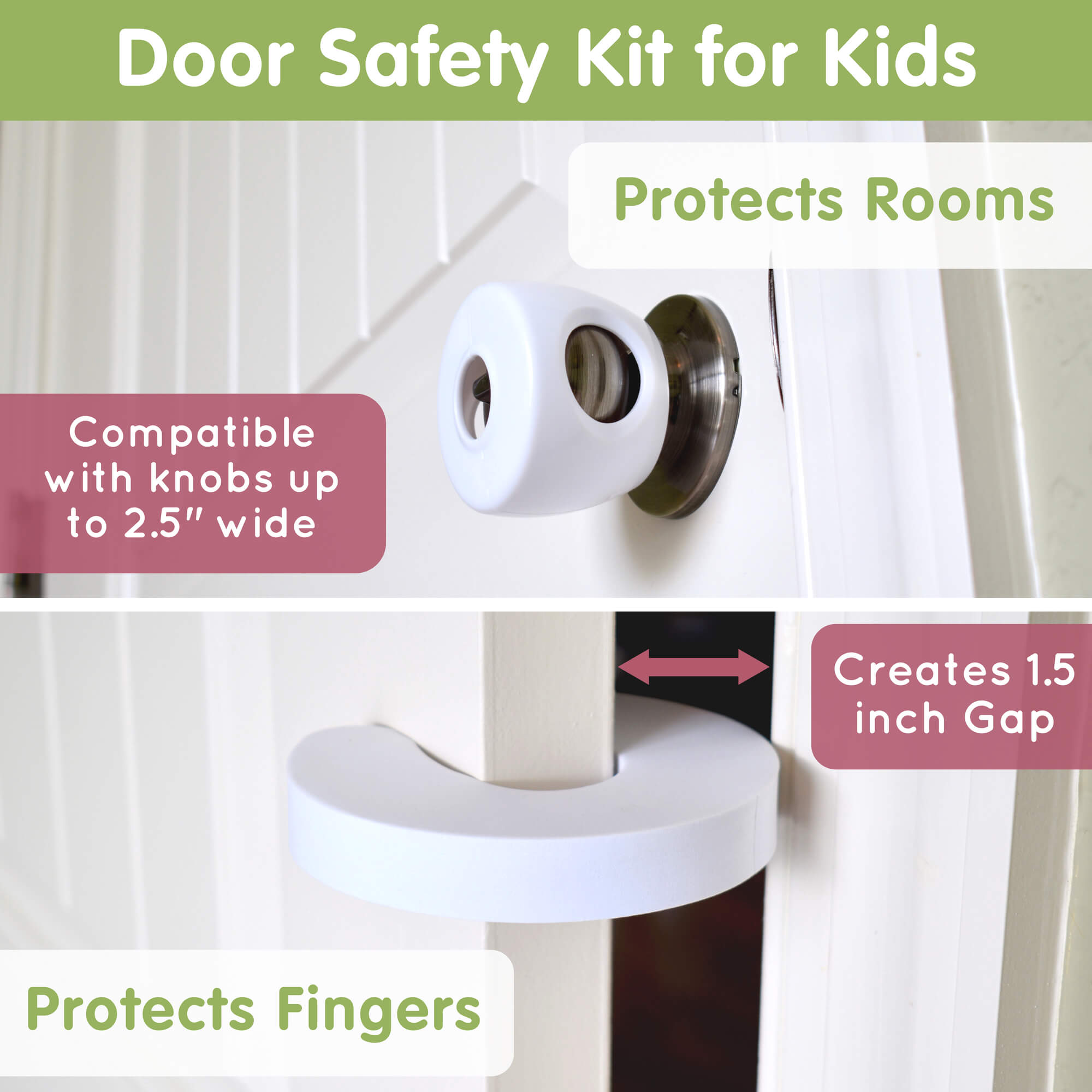 Child Door Safety Kit 4 Door Knob Covers 2 Finger