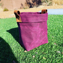 "Waxed Canvas ""Kiki Pot"" Planter Basket in Electric Cranberry"