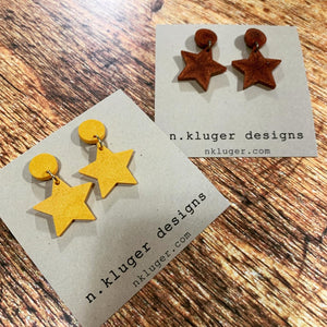 Shimmering Copper Star Resin Drop Earrings