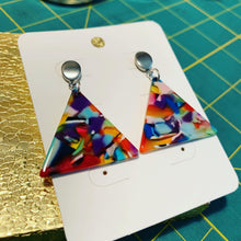 Rainbow Confetti Triangle Acrylic Drop Earrings