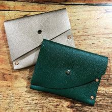 Glittery Teal Green Leather Card Case / Mini Wallet