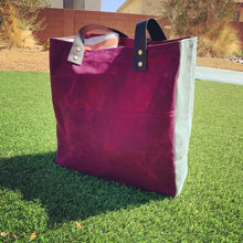 Oversized Waxed Canvas Color-Block Beach Bag / Tote Bag