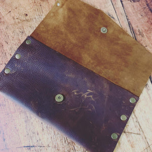 Rustic Brown Genuine Leather Clutch
