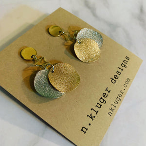 Silver & Gold Glitter Wave Disc & Star Earrings