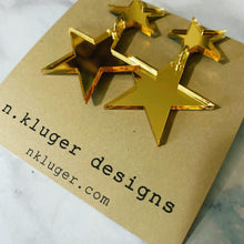 Gold Mirrored Double Star Acrylic Drop Earrings