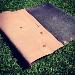 Brown Leather with Pink Suede Oversized Fan Clutch