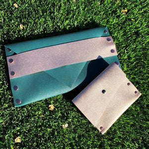 Metallic Teal Leather Envelope Clutch with Rose Gold Strap