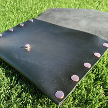 Black Leather Clutch with Copper Rivets