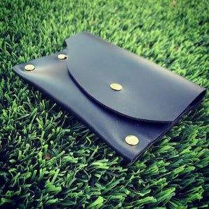 Handmade Black Leather Card Case / Mini Wallet
