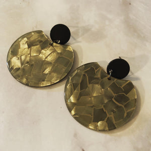 Golden Mosaic Circle Cutout Acrylic Drop Earrings
