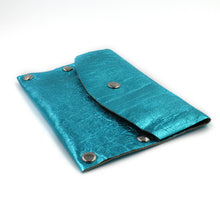 Aqua Foil Leather Card Case / Mini Wallet - N.Kluger Designs Card Case