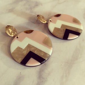 Pink Art Deco Circle Acrylic Drop Earrings