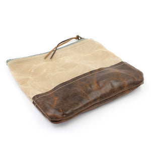 Waxed Canvas and Leather Cosmetic/Toiletry Bag - N.Kluger Designs clutch