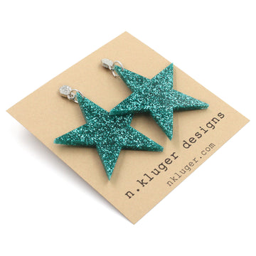 Green Blue Glitter Star Acrylic Dangling Earrings
