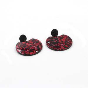 Black & Red Circle Cutout Acrylic Drop Earrings