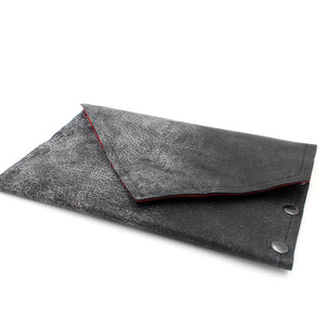 Rock Star Gunmetal Leather Clutch with Red Glitter Metallic Interior