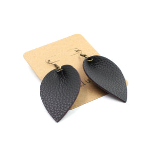 Inspired Black Pebbled Leather Drop Earrings with Mauve Backside - N.Kluger Designs Earrings