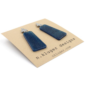 Glittery Midnight Blue Acrylic Dangle Earrings