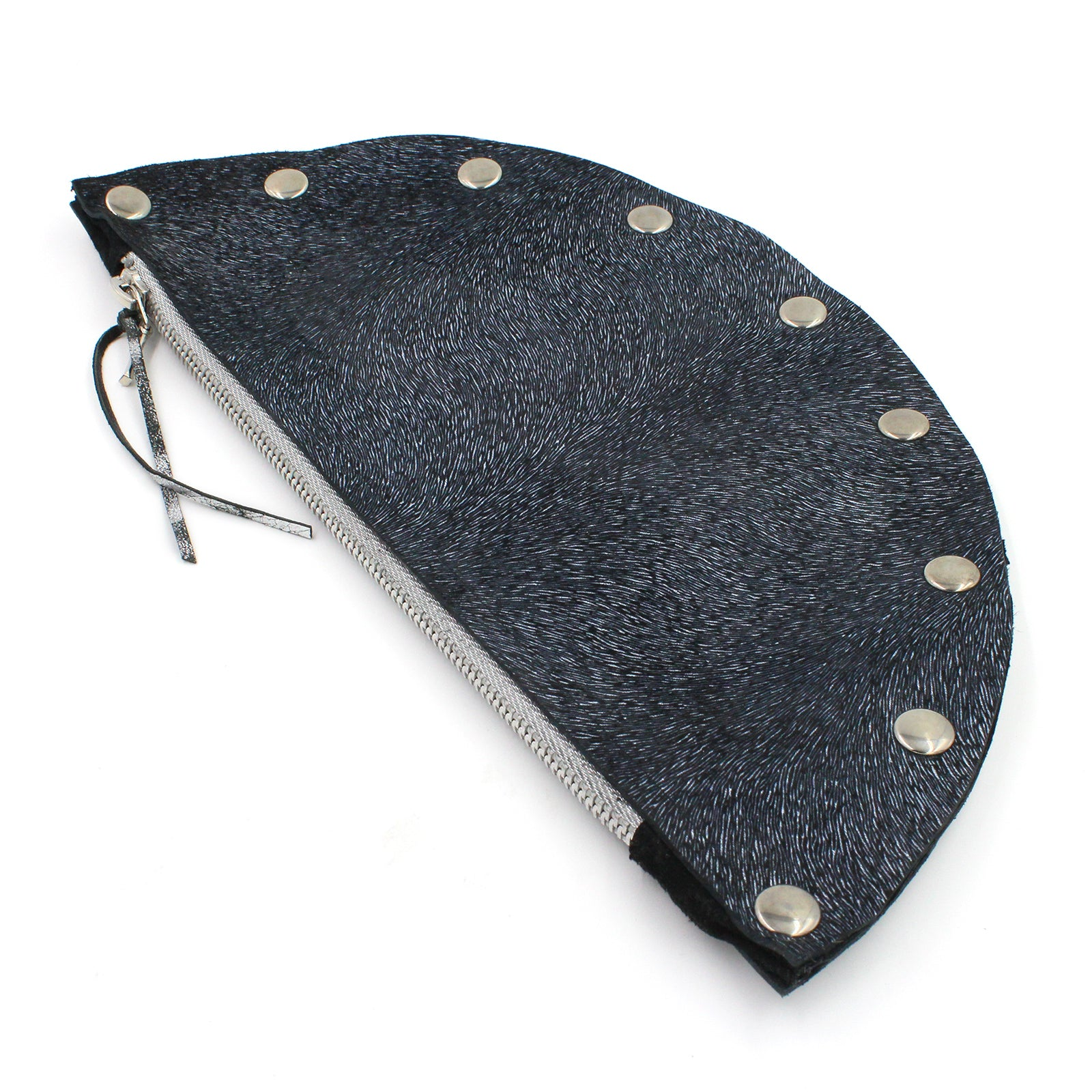 Handmade Navy Blue Half Moon Leather Clutch