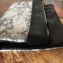 Black & White Metallic Mixed Leather & Fabric Clutch - N.Kluger Designs clutch