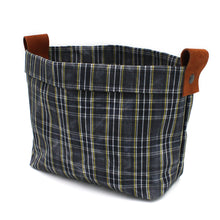 "Large Waxed Canvas ""Kiki Pot"" Planter in Navy Plaid"