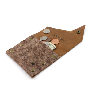 Distressed Brown Leather Coin Purse/Wallet - N.Kluger Designs Coin Purse