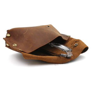 Rustic Dark Brown Handmade Leather Eye Glass Holder/Pouch - N.Kluger Designs Card Case