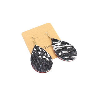 Black, White & Red All Over Leather Drop Earrings - N.Kluger Designs Earrings