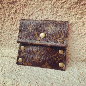 Repurposed Louis Vuitton Leather Card Case / Mini Wallet