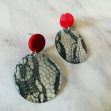 Sexy Black Lace Circle Acrylic Drop Earrings