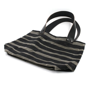 Small Charcoal Striped Waxed Canvas & Leather Tote Bag