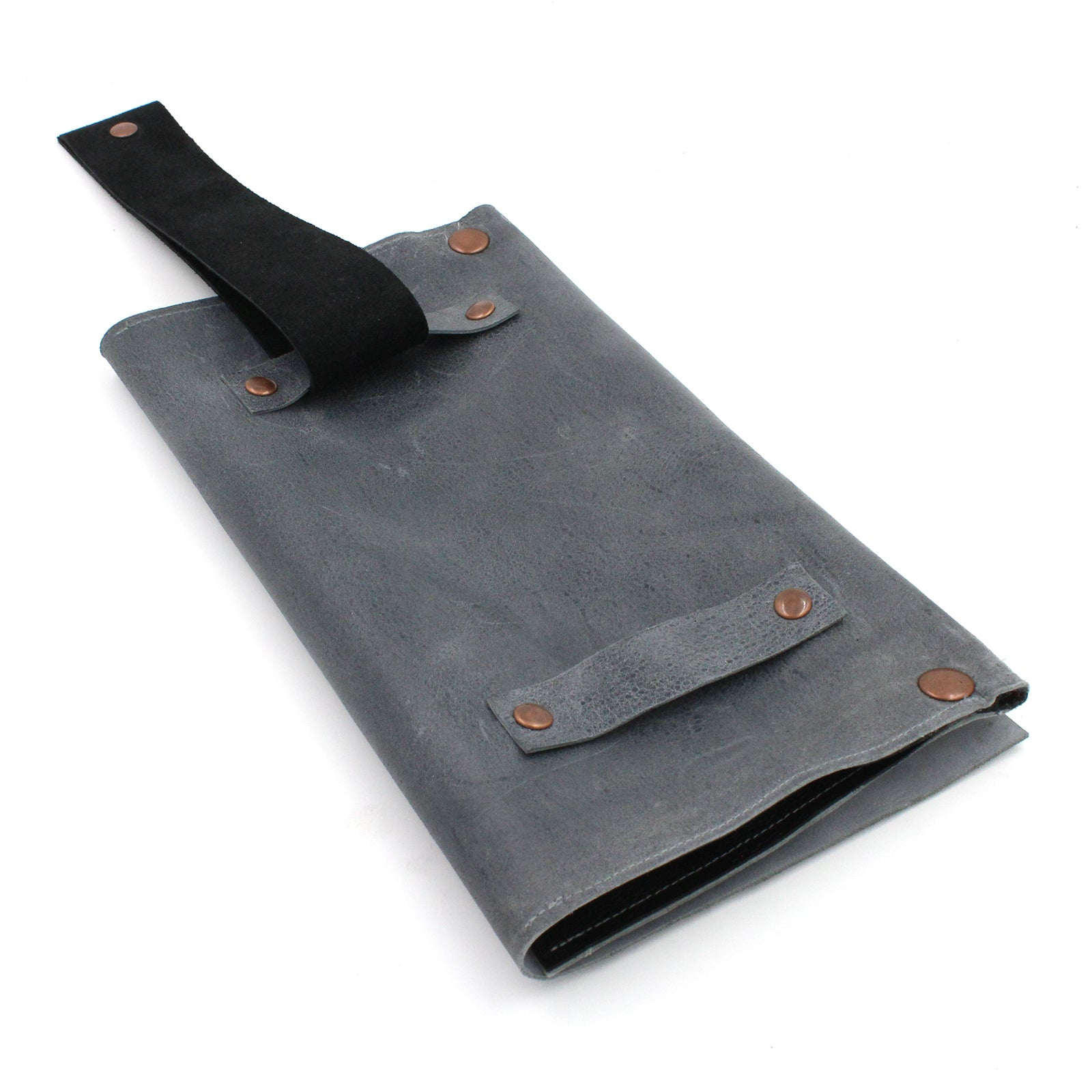 Grey Leather Convertible Belt Clutch