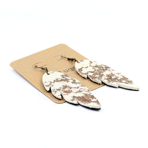 Speckled Cow Print Leather Feather Earrings