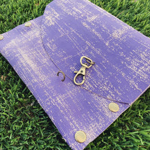 Hand-painted Textured Purple Leather Clutch
