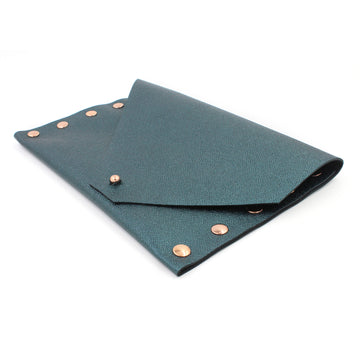 2nd Edition Shimmering Green/Blue Leather Clutch with Rose Gold Rivets