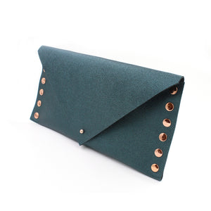 Shimmering Green/Blue Leather Clutch with Rose Gold Rivets - N.Kluger Designs clutch