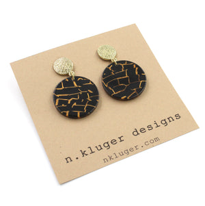 Gold & Black Mosaic Circle Acrylic Drop Earrings