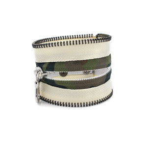 Camo Collection Cream Zip Bracelet - N.Kluger Designs bracelet