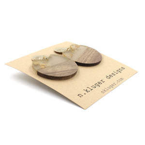 Gold Leaf & Wood Circle Cutout Acrylic Drop Earrings