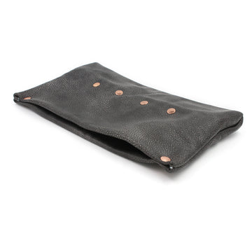 Gunmetal Street Chic Leather Clutch