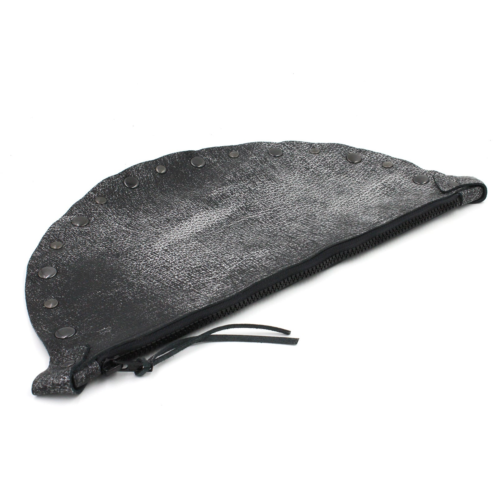 Metallic Gunmetal Leather Half-Moon Clutch