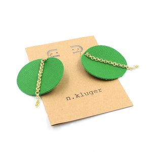 The Grass is Always Greener Leather Circle Earrings