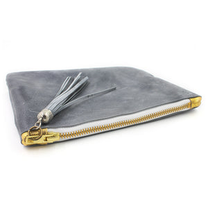 Distressed Grey Leather Cosmetic Bag/Clutch with Tassel - N.Kluger Designs clutch
